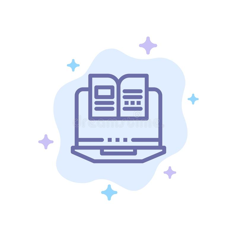 Laptop, Computer, Book, Hardware Blue Icon on Abstract Cloud Background royalty free illustration