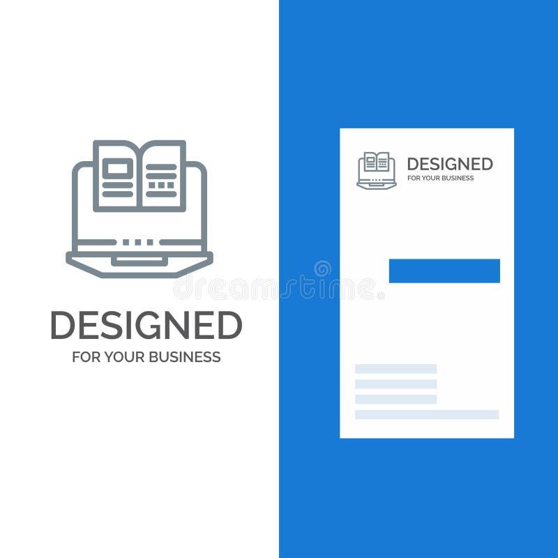 Laptop, Computer, Book, Hardware Grey Logo Design and Business Card Template stock illustration