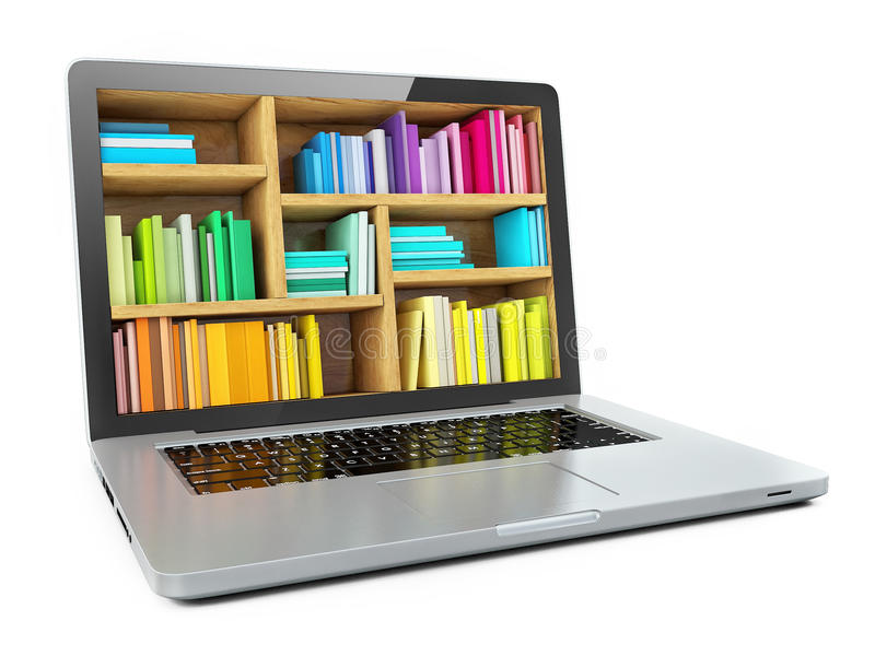 Laptop Computer Bookcase with Multicolor e-books isolated on White Background. E-learning education or internet libraryd royalty free illustration