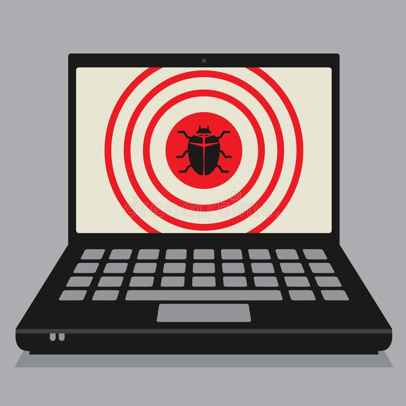 Laptop computer, business concept with computer virus sign. Laptop or notebook computer, business concept with computer virus sign or symbol, vector illustration royalty free illustration