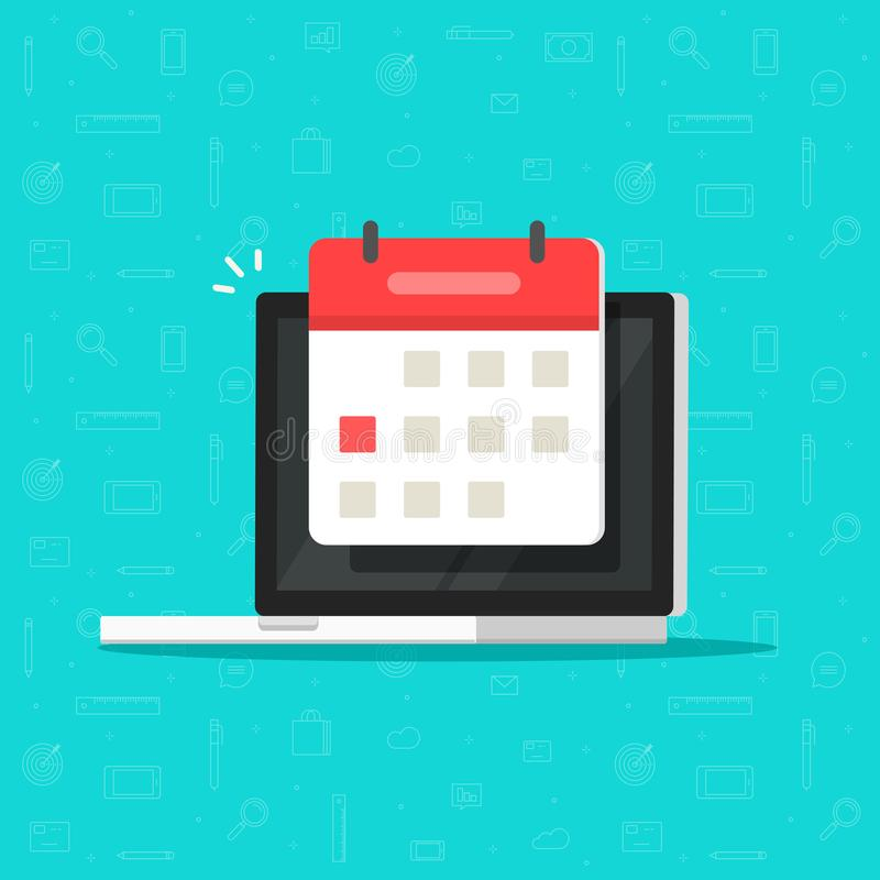 Laptop computer with calendar date or deadline event vector icon isolated flat cartoon clipart royalty free illustration