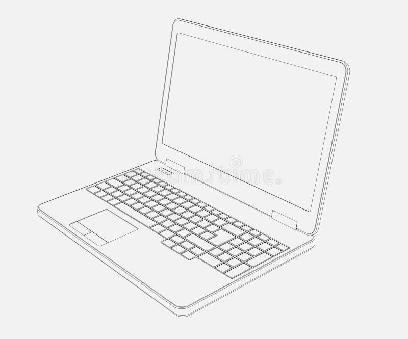Laptop-Computer 3D Zeichnung auf weißem Hintergrund stock abbildung