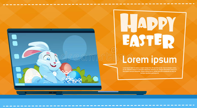 Laptop Computer Decorated Colorful Eggs Rabbit Easter Holiday Symbols Greeting Card royalty free illustration
