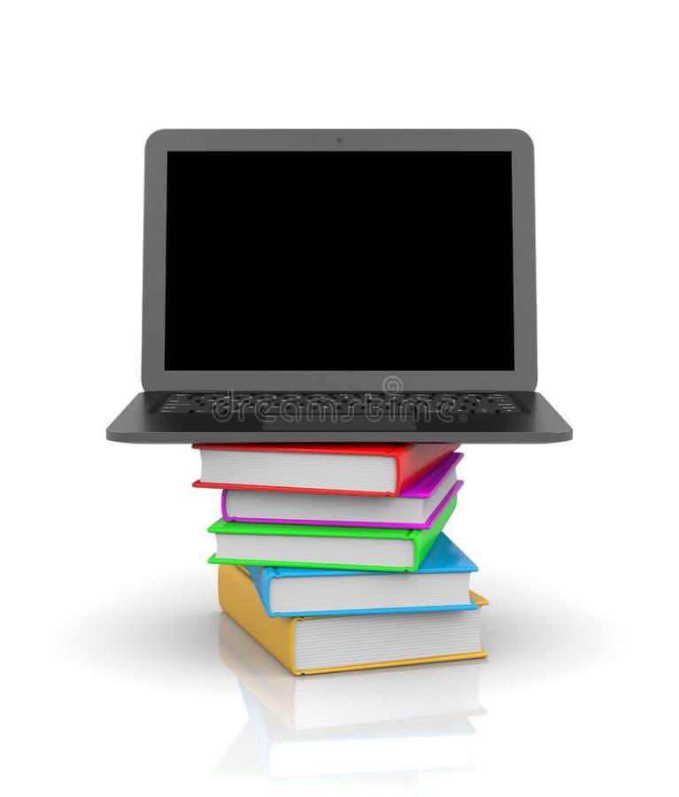 Laptop-Computer an der Spitze eines Stapels von Büchern lizenzfreie abbildung