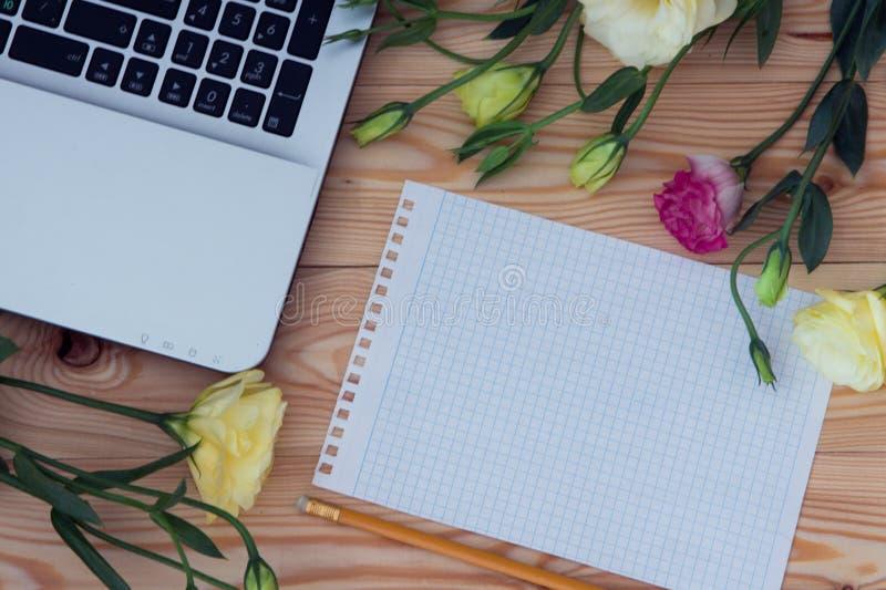 Laptop-Computer, des leeren Papiers, des Bleistifts und des Eustoma Blumen auf Holz lizenzfreie stockfotografie