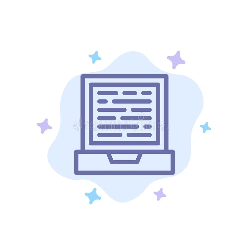 Laptop, Computer, Design Blue Icon on Abstract Cloud Background vector illustration