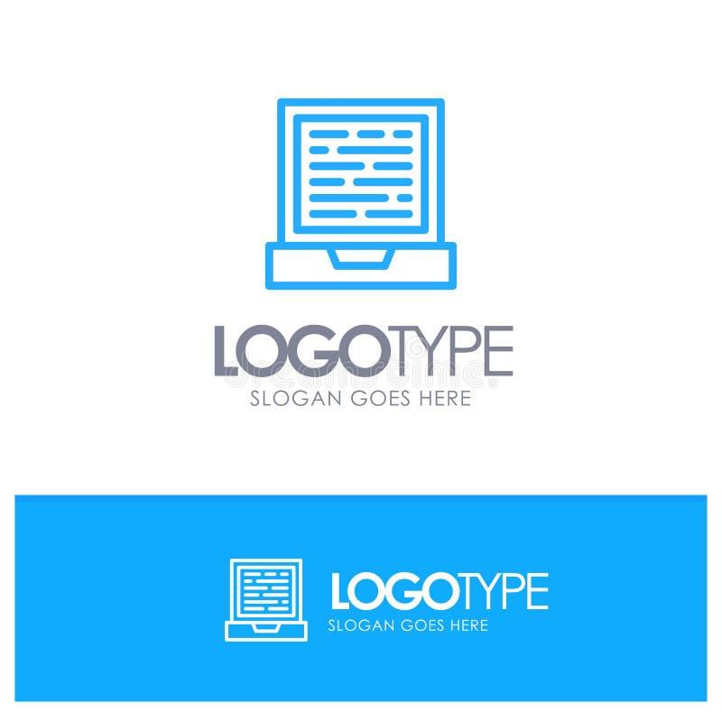 Laptop, Computer, Design Blue Outline Logo Place for Tagline royalty free illustration