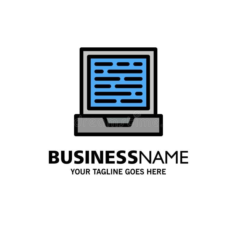 Laptop, Computer, Design Business Logo Template. Flat Color royalty free illustration