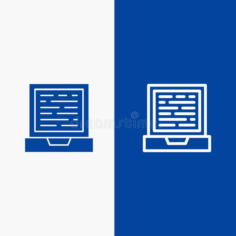 Laptop, Computer, Design Line and Glyph Solid icon Blue banner Line and Glyph Solid icon Blue banner stock illustration