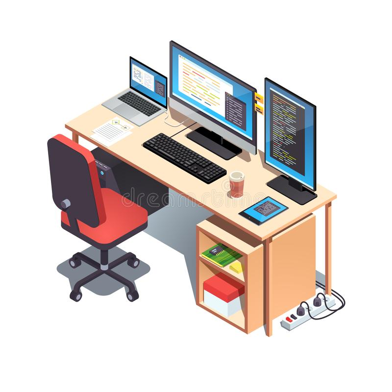 Laptop computer, desktop pc setup table with chair vector illustration