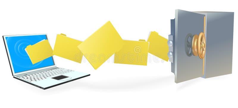 Laptop computer die dossiers veilig overbrengt stock illustratie