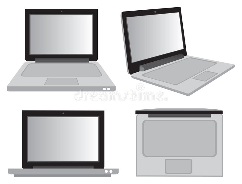 Laptop Computer in Different Perspective Views Vector Illustration vector illustration