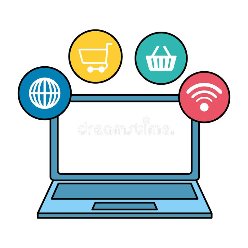 Laptop computer with ecommerce icons. Vector illustration design stock illustration