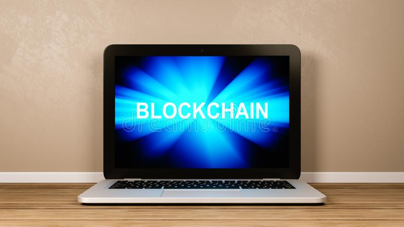 Blockchain Technology Concept. Laptop Computer with Emitting Blue Rays Blockchain Text on the Screen in the Room 3D Illustration, Blockchain Technology Concept royalty free illustration