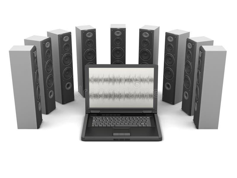 Laptop computer en audiosprekers vector illustratie