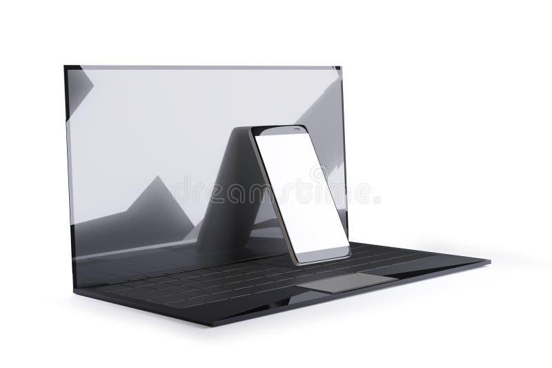 Laptop computer en cel de elegantieontwerp van de telefoon 3d-illustratie stock illustratie