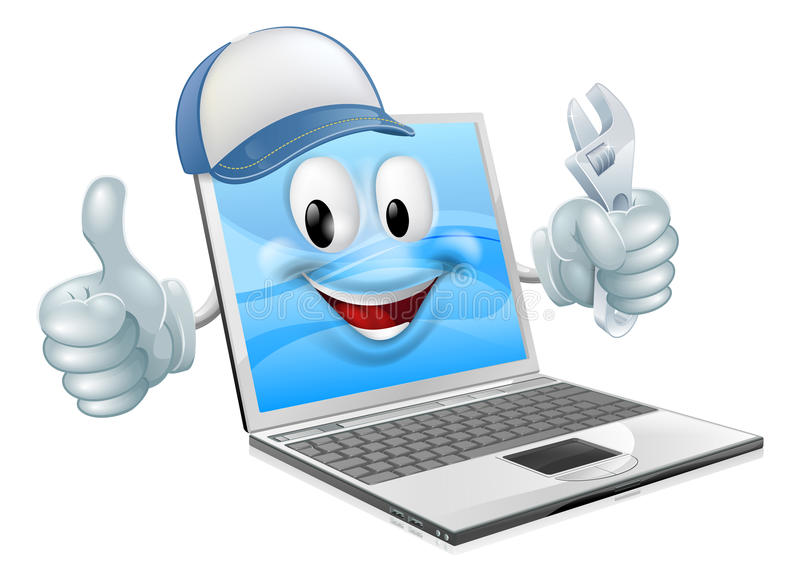 Laptop computer engineer. Plumber or mechanic. Could concern computer repair or maintenance royalty free illustration