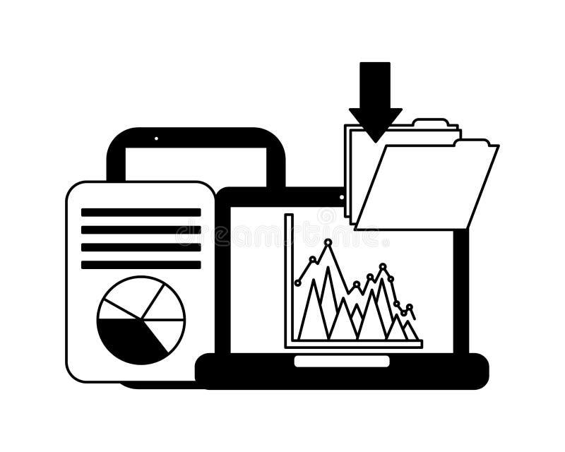 Laptop computer file download document information system. Vector illustration stock illustration