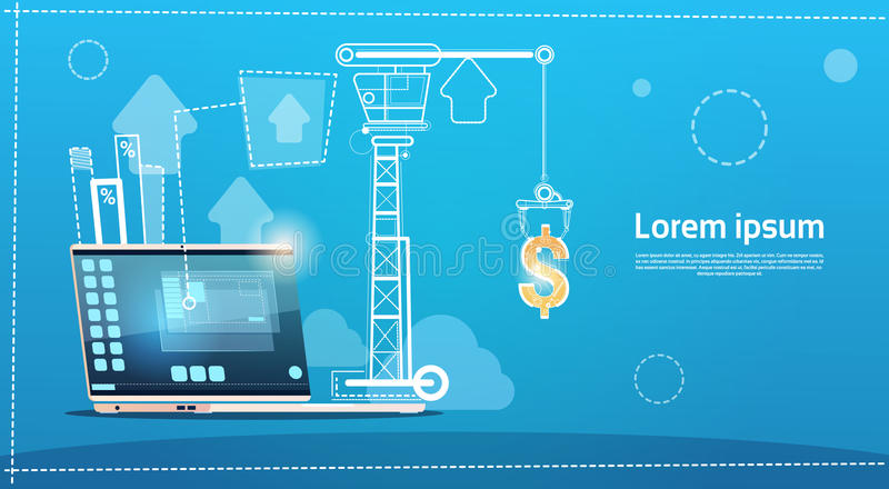 Laptop Computer Finance Success Concept. Flat Vector Illustration vector illustration