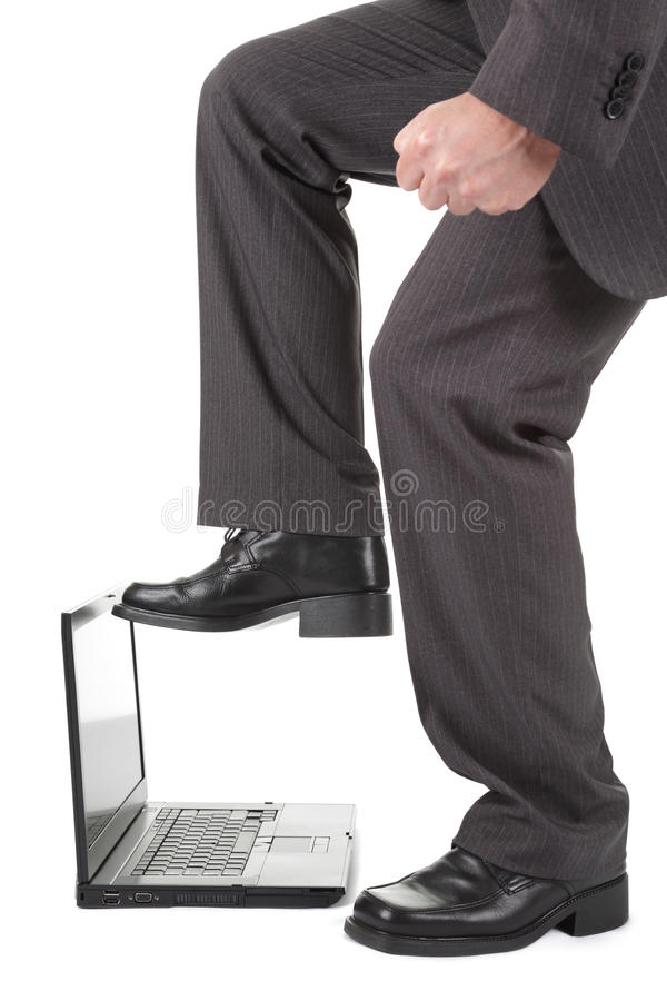 Laptop computer frustration royalty free stock photography