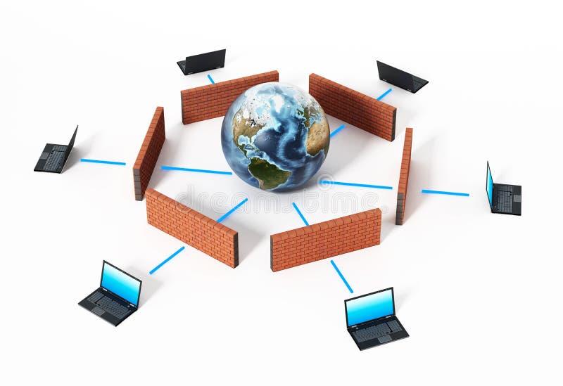 Laptop-Computer geschützt durch Brandmauer Abbildung 3D lizenzfreie abbildung