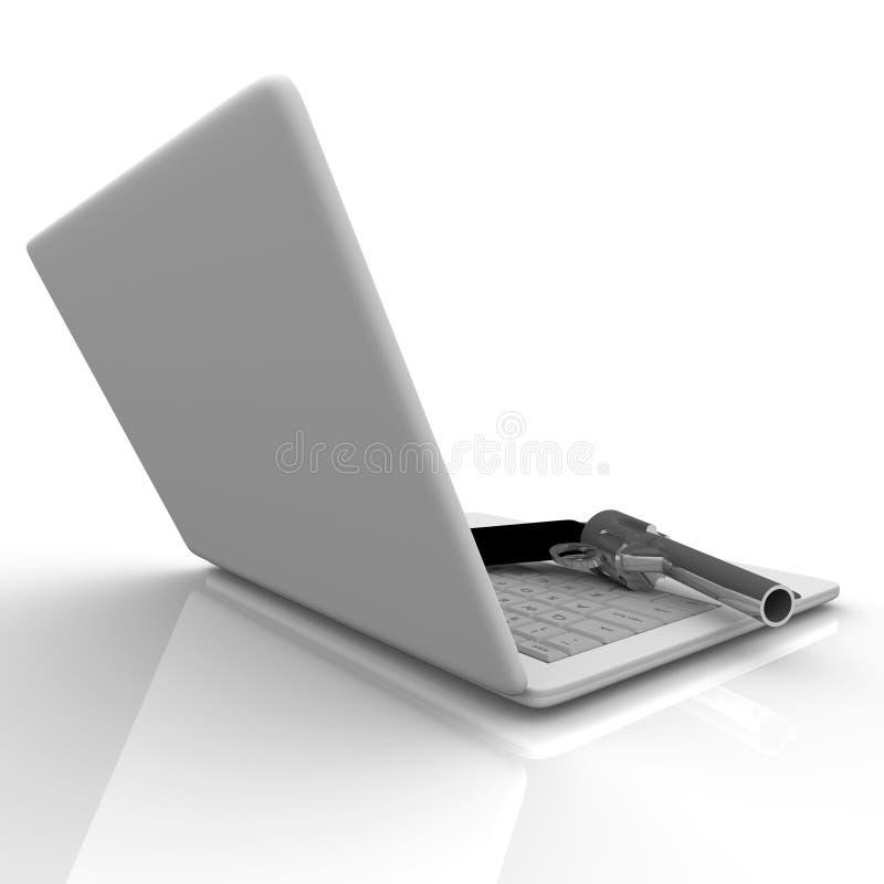 Laptop Computer and Gun. A handgun rests on a laptop computer keyboard stock illustration