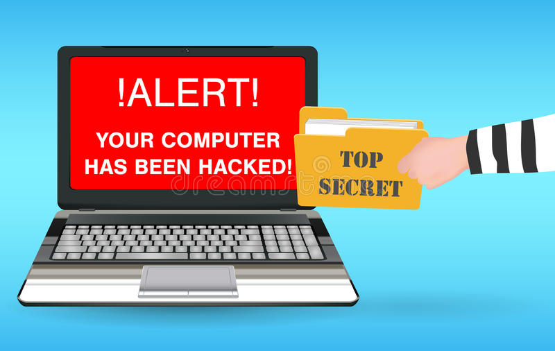 Laptop computer hacked and stolen data by hacker royalty free illustration