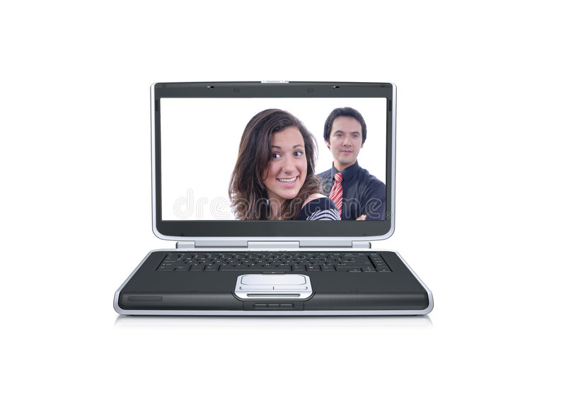 Laptop computer with happy couple. Smiling isolated over a white background stock photography