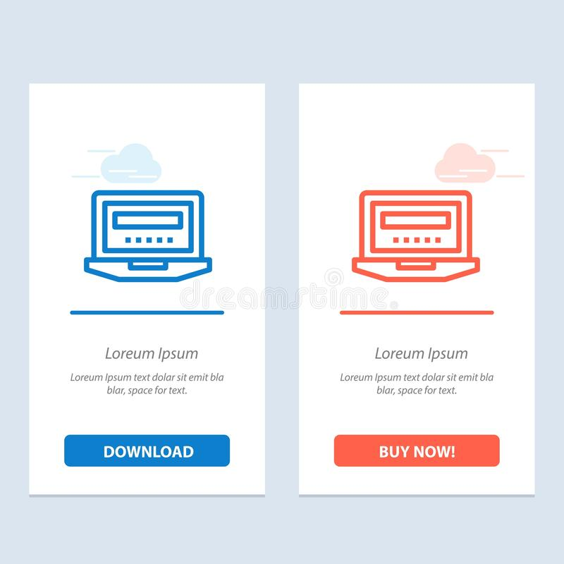Laptop, Computer, Hardware, Education  Blue and Red Download and Buy Now web Widget Card Template vector illustration