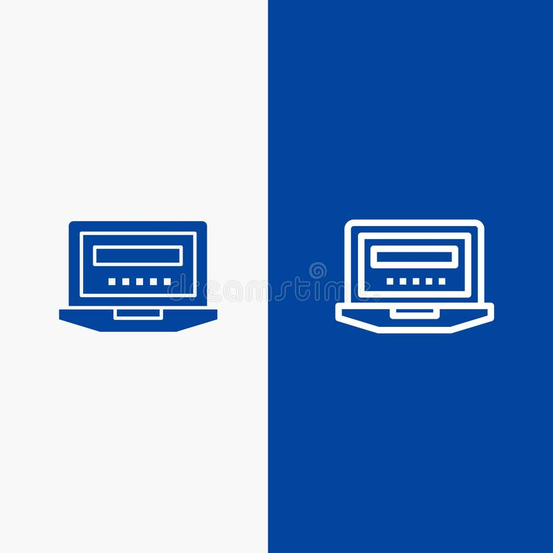 Laptop, Computer, Hardware, Education Line and Glyph Solid icon Blue banner vector illustration
