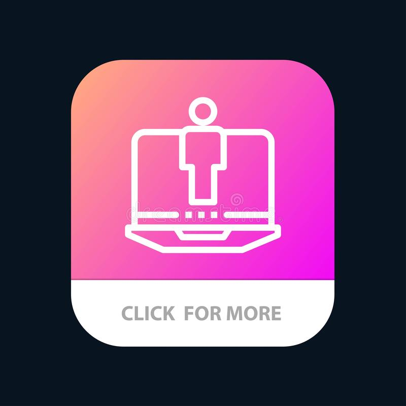 Laptop, Computer, Hardware, Service Mobile App Button. Android and IOS Line Version royalty free illustration
