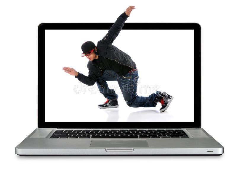 Laptop Computer With Hip Hop Dancer stock images