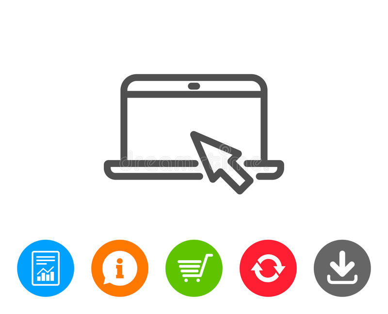 Laptop computer icon. Notebook sign. Laptop computer icon. Notebook with mouse cursor sign. Portable personal computer symbol. Report, Information and Refresh stock illustration