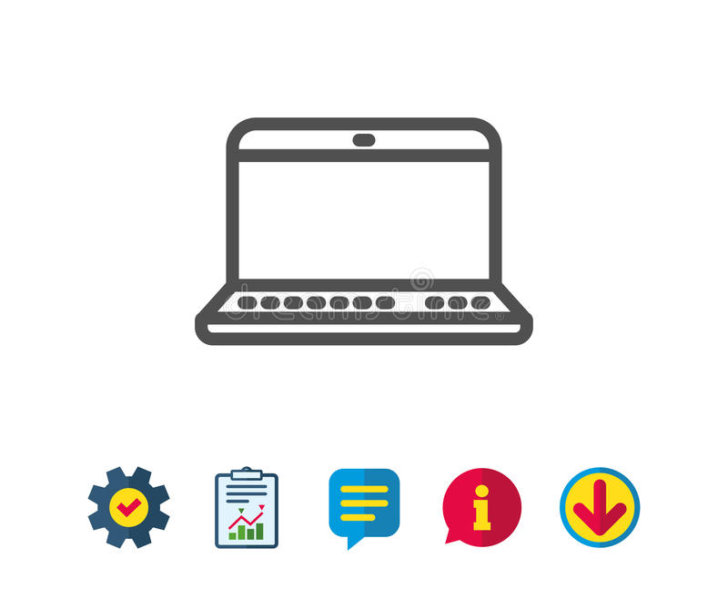 Laptop computer icon. Notebook sign. Portable personal computer symbol. Report, Service and Information line signs. Download, Speech bubble icons. Editable royalty free illustration