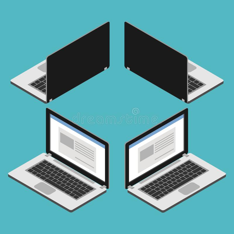 Laptop computer isometric royalty free illustration
