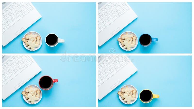 Laptop computer, kop van koffie en koekjes royalty-vrije stock fotografie