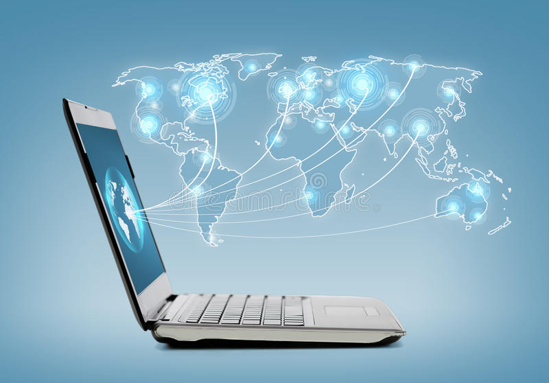 Download Laptop Computer With Map Hologramm Stock Illustration - Image: 36737330