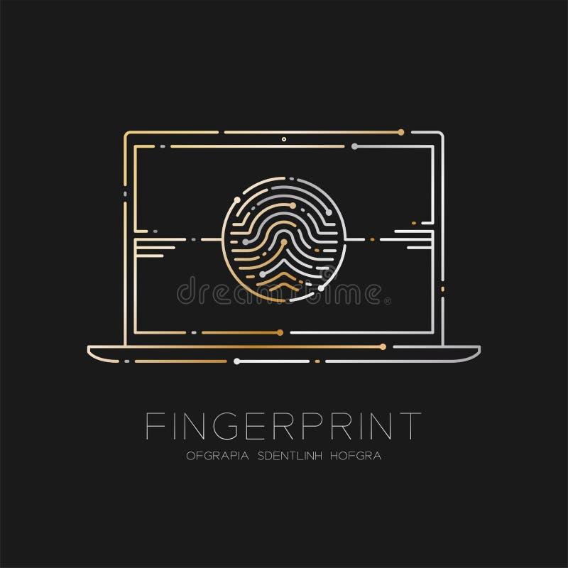 Laptop computer met de lijn van het Vingerafdrukstreepje, Digitaal de illustratiegoud en zilver van het bureauconceptontwerp dat  vector illustratie