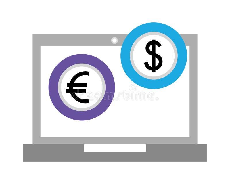 Laptop computer met euro en dollar royalty-vrije illustratie