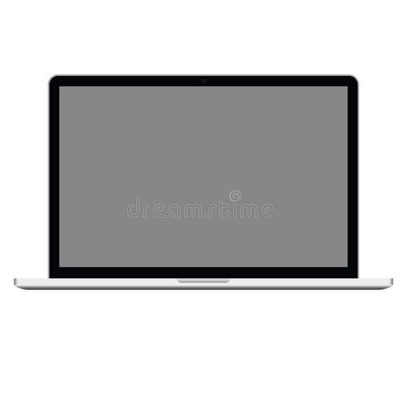 Laptop computer met het grijze hoge scherm, - kwaliteit vectoreps10 Computernotitieboekje geopend pictogram het pictogramvector v stock illustratie