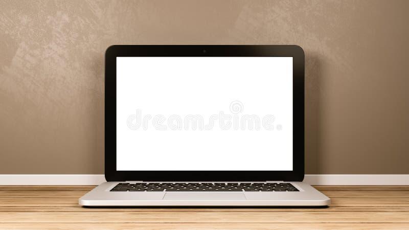 Laptop Computer met het Lege Scherm in de Zaal stock illustratie