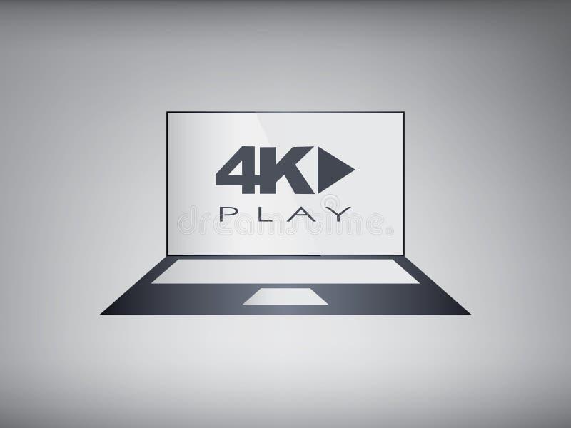Laptop computer met moderne ultra hd resolutie vector illustratie