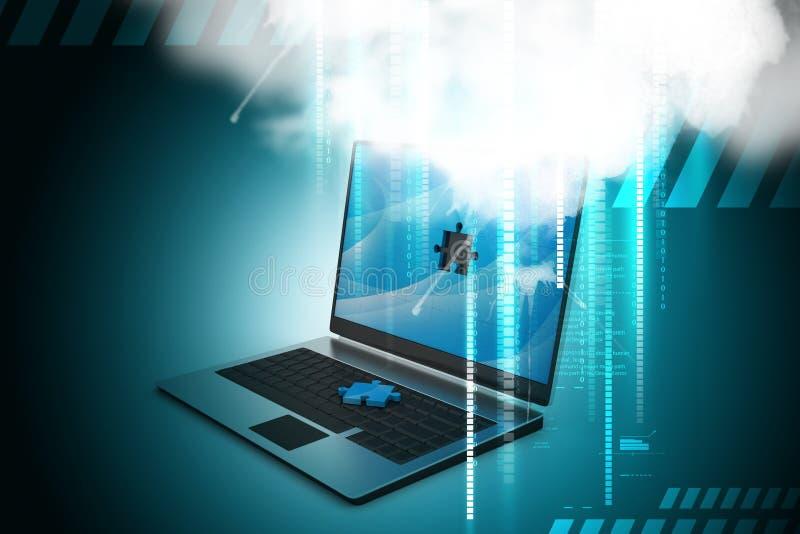 Laptop computer met raadsel royalty-vrije illustratie