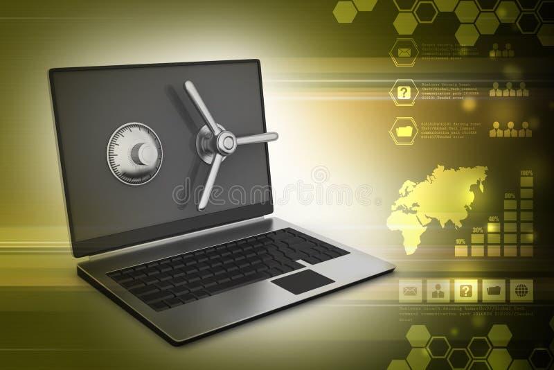 Laptop computer met slot voor bescherming stock illustratie