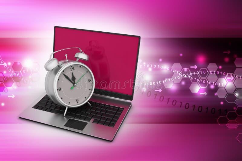 Laptop computer met wekker vector illustratie