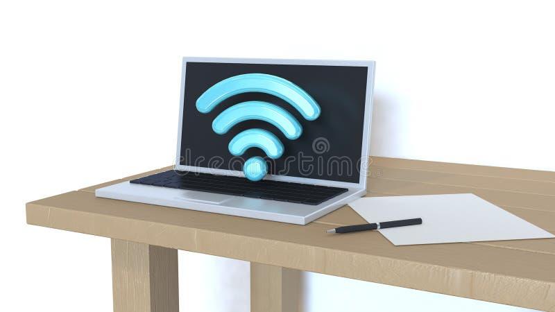Laptop, computer met wifi 3d pictogram op houten 3d lijst witte muur, geeft terug vector illustratie