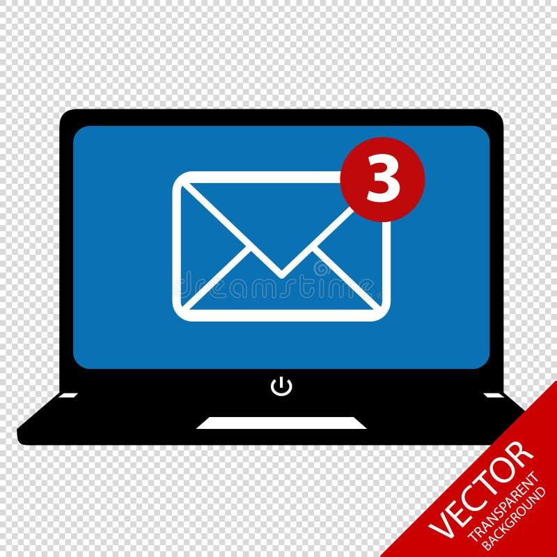 Laptop-Computer mit dem Symbol E-Mail-des empfangens - Vektor-Illustration - lokalisiert auf transparentem Hintergrund lizenzfreie abbildung