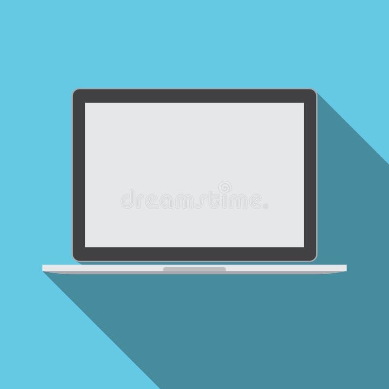 Laptop-Computer mit leerer Schirm-Technologie-Ikone lizenzfreie abbildung