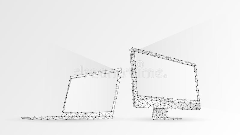 Laptop and computer monitors composed of polygons. Electronic devices with white screen. Abstract, digital, wireframe, low poly. Mesh vector white origami 3d stock illustration