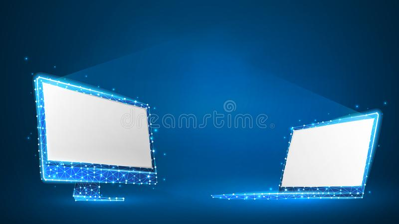 Laptop and computer monitors composed of polygons. Electronic devices with white screen. Abstract, digital, wireframe, low poly. Mesh vector blue neon 3d royalty free illustration